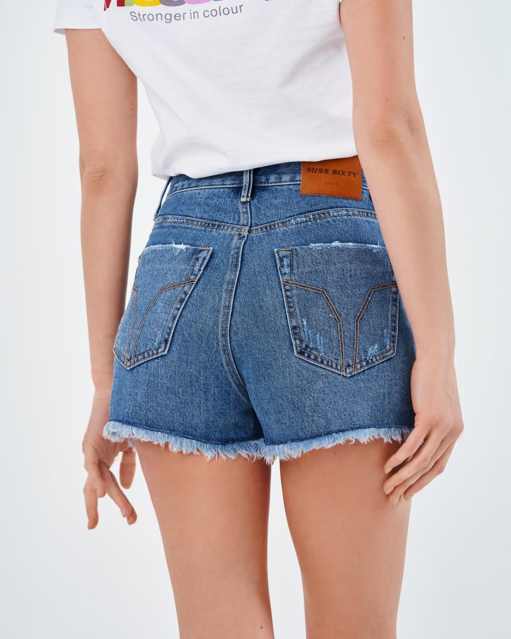 Джинсовые шорты с потертостями Miss Sixty