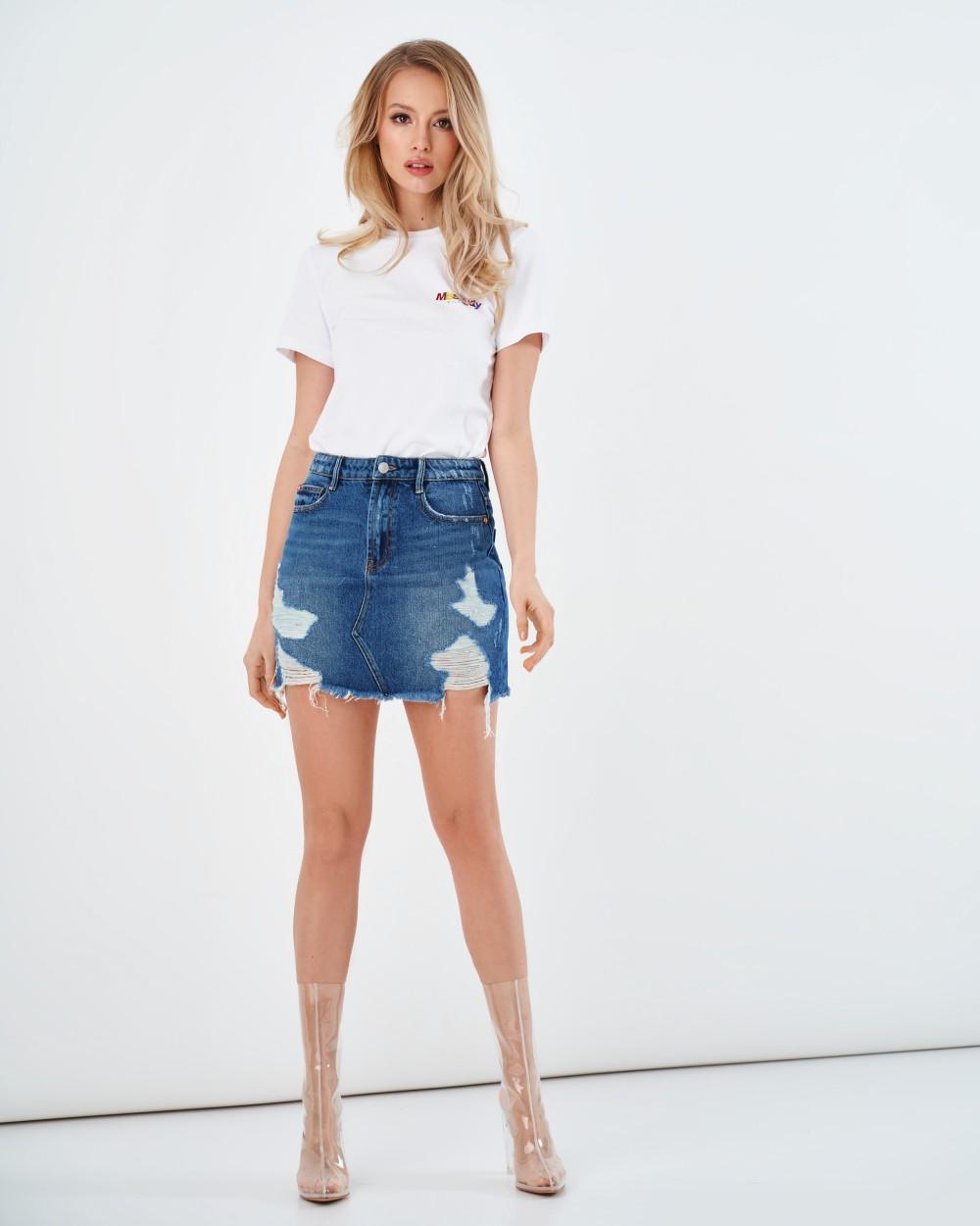 Джинсовая мини-юбка с потертостями Miss Sixty