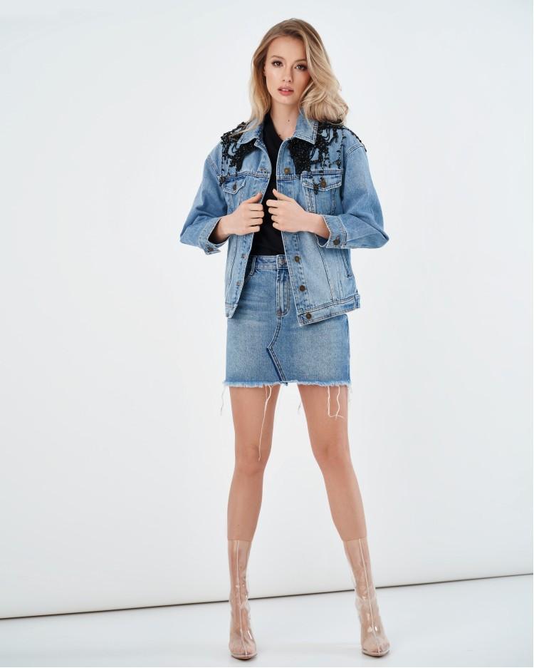 Джинсовая куртка с украшением из бусин Miss Sixty