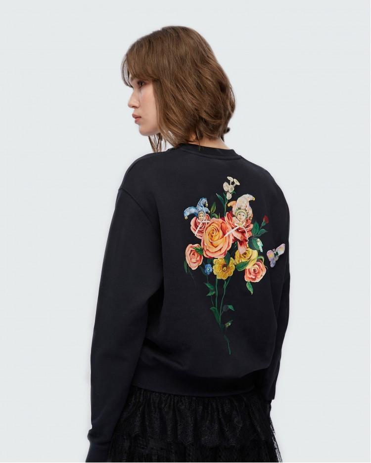 Черный свитшот с цветочным принтом Miss Sixty 2028